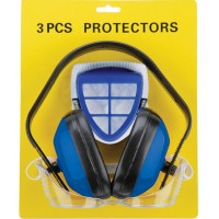 3 in 1: headphones + protective goggle + dust mask